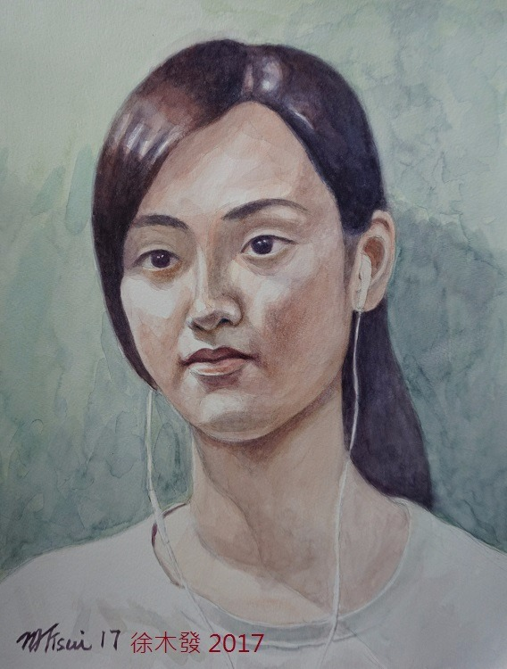 愛聽音樂的少女  41x32cm watercolor Hong Kong.jpg