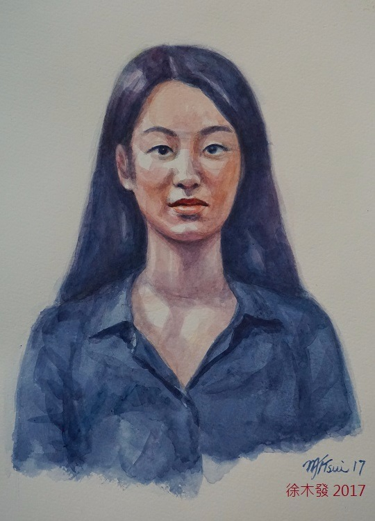 藍衣女青年   35.5x23.5cm   water color.jpg